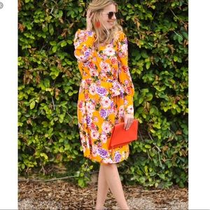 Who what wear yellow floral wrap dress sz small